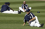 Seattle Mariners' Ichiro Suzuki, front,  stretches out with the team before their game against the New York Yankees in Seattle, Washington on Wednesday, 31 August, 2005.Jim Bryant Photo. ©2010. ALL RIGHTS RESERVED.