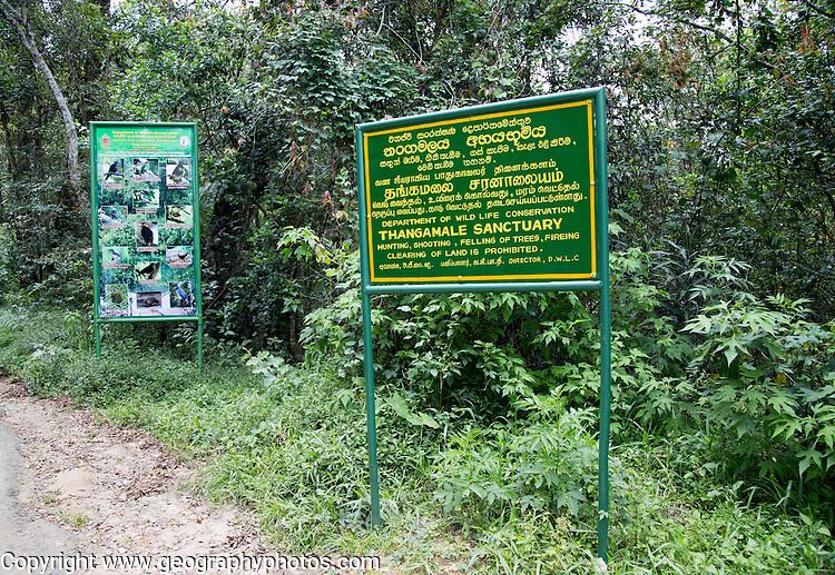 Thangamale wildlife sanctuary sign, Haputale, Badulla District, Uva Province, Sri Lanka, Asia