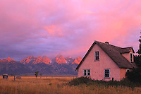 Abandoned settler farm which has become a part of Teton National Park. Tton Mountaind in the background.