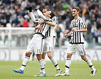 Calcio, Serie A: Juventus vs Carpi. Torino, Juventus Stadium, 1 maggio 2016.<br /> Juventus' Hernanes, left, celebrates with teammates Leonardo Bonucci, center, and Daniele Rugani, after scoring during the Italian Serie A football match between Juventus and Carpi at Turin's Juventus Stadium, 1 May 2016.<br /> UPDATE IMAGES PRESS/Isabella Bonotto