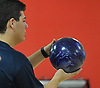 Dillon Ristano of Hewlett gets ready to roll during a Nassau County boys bowling match against Seaford at Baldwin Lanes on Monday, Dec. 18, 2017.