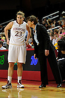 LOS ANGELES, CA - MARCH 13:  Tara VanDerveer talks with Jeanette Pohlen during Stanford's 64-44 win over California in the Pac-10 Tournament at the Staples Center on March 13, 2010 in Los Angeles, California.