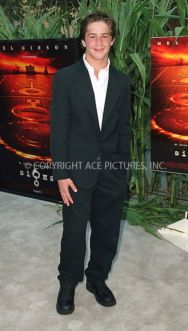 """Michael Angarano arrives at the world premiere of Touchstone Pictures' movie, """"Signs"""" at Lincoln Center, New York. July 29, 2002. Please byline: Alecsey Boldeskul/NY Photo Press.   ..*PAY-PER-USE*      ....NY Photo Press:  ..phone (646) 267-6913;   ..e-mail: info@nyphotopress.com"""