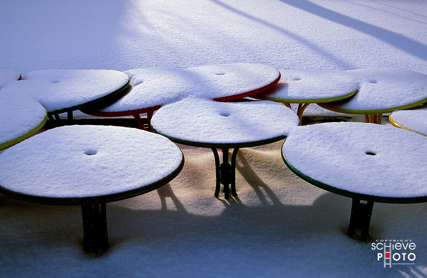University of Wisconsin-Madison Memorial Union tables covered with snow.