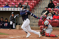 Cedar Rapids Kernels catcher Ben Rodriguez (23) swings at a pitch against the Burlington Bees at Veterans Memorial Stadium on April 14, 2019 in Cedar Rapids, Iowa.  The Bees won 6-2.  (Dennis Hubbard/Four Seam Images)