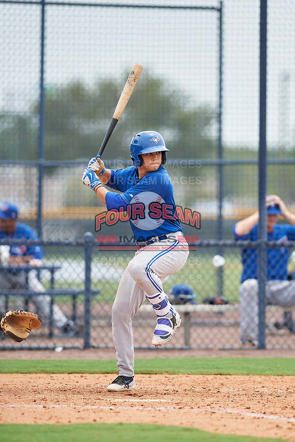 GCL Blue Jays center fielder Dominic Abbadessa (6) at bat during the second game of a doubleheader against the GCL Yankees East on July 24, 2017 at the Yankees Minor League Complex in Tampa, Florida.  GCL Yankees East defeated the GCL Blue Jays 6-3.  (Mike Janes/Four Seam Images)