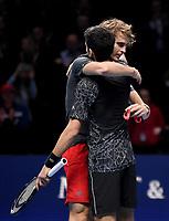 Novak Djokovic embraces Alexander Zverev to congratulate him for winning 2018 ATP World Tour Finals<br /> <br /> Photographer Hannah Fountain/CameraSport<br /> <br /> International Tennis - Nitto ATP World Tour Finals Day 7 - O2 Arena - London - Saturday 17th November 2018<br /> <br /> World Copyright &copy; 2018 CameraSport. All rights reserved. 43 Linden Ave. Countesthorpe. Leicester. England. LE8 5PG - Tel: +44 (0) 116 277 4147 - admin@camerasport.com - www.camerasport.com