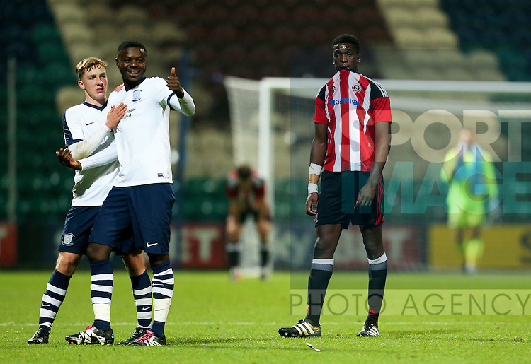 Preston North End players celebrate as Joseph Cummings of Sheffield United U18s look dejeted at full time during the FA Youth Cup 3rd Round match at Deepdale Stadium, Preston. Picture date: November 30th, 2016. Pic Matt McNulty/Sportimage