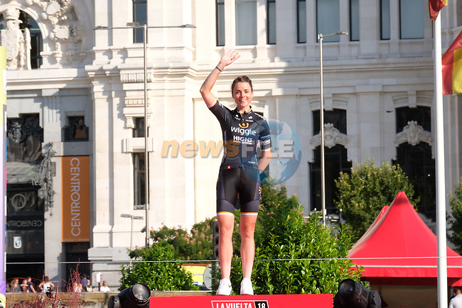 Audrey Cordon Ragot (FRA) Wiggle High5 finishes 3rd overall in the general classification at the end of Stage 2 of the Madrid Challenge by La Vuelta 2018, running 98.6km around the streets of Madrid, Spain. 16th September 2018.                   <br /> Picture: Unipublic/Vicent Bosch | Cyclefile<br /> <br /> <br /> All photos usage must carry mandatory copyright credit (© Cyclefile | Unipublic/Vicent Bosch)