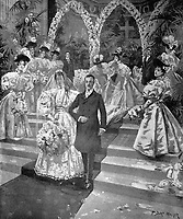 BNPS.co.uk (01202 558833)<br /> Pic: BlenheimPalace<br /> <br /> 1895 wedding of the 9th Duke to the 'Dollar Princess' Consuelo Vanderbilt - Lady Blandford wore a diamond and pearl tiara inherited from the 9th Duchess.<br /> <br /> The stunning wedding dress worn by Camilla Thorp on her marriage to Lord George Blandford, heir to the Duke of Marlborough, has just gone on display at Blenheim Palace in Oxfordshire.<br /> <br /> The first bespoke Dolce & Gabbana bridal gown ever to have been worn in Britain, Lady Blandford made several visits to the Milan fashion house prior to her lavish September wedding last year.<br /> <br /> The dress, which is on display in the Palace's Long Library, features an off-the-shoulder lace bodice with tiny, pale pink and white appliqued flowers and seed pearls. <br /><br />The skirt is made up of layers of tulle for volume and topped with organza. Lace is also featured on the hem of the skirt and around the edge of the silk tulle veil.