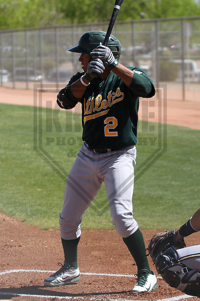 MARYVALE - March 2014: Melvin Mercedes (2) of the Oakland Athletics during a spring training game against the Milwaukee Brewers on March 18th, 2014 at Maryvale Baseball Park in Maryvale, Arizona.  (Photo Credit: Brad Krause)