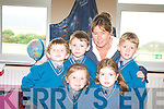 Chloe Ni Chugan, Abigail Ni Dhuibhir, Aindru O'Se, Ryan O'Mochair and Ben O'Conchuir with teacher Meg Mitchell during their first day in Scoil Mhichil Naofa, Ballinskelligs.   Copyright Kerry's Eye 2008