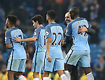 Josep Guardiola manager of Manchester City hugs Yaya Toure of Manchester City during the English Premier League match at the Etihad Stadium, Manchester. Picture date: December 18th, 2016. Picture credit should read: Simon Bellis/Sportimage