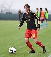 20190206 - TUBIZE , BELGIUM : Belgian Silke Janssenspictured during the friendly female soccer match between Women under 17 teams of  Belgium and The Netherlands , in Tubize , Belgium . Wednesday 6th February 2019 . PHOTO SPORTPIX.BE DIRK VUYLSTEKE