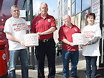 Martin Smith, Declan O'Reilly, Joe Kellett and Winnie Malone collecting at the Cyclathon in aid of Ardee Hospice and Square United football team at Super Valu Ardee. Photo:Colin Bell/pressphotos.ie