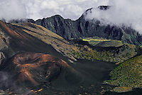 Storm clouds envelope the Paliku area of the crater in HALEAKALA NATIONAL PARK on Maui in Hawaii