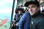 Race leader Simon Yates (GBR) Mitchelton-Scott winner of Stage 9 of the 2018 Giro d'Italia, running 225km from Pesco Sannita to Gran Sasso d'Italia (Campo Imperatore), this year's Montagna Pantani, Italy. 13th May 2018.<br /> Picture: LaPresse/Massimo Paolone | Cyclefile<br /> <br /> <br /> All photos usage must carry mandatory copyright credit (&copy; Cyclefile | LaPresse/Massimo Paolone)