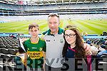 Brian, James and Eimear Burke, Farranfore,  Kerry  fans at the All Ireland Senior Quarter Final at Croke Park on Sunday.