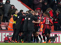 Manager Eddie Howe of Bournemouth and his team celebrates Junior Stanislas of Bournemouth putting Bournemouth in front during the Premier League match between Bournemouth v West Bromwich Albion played at Vitality Stadium, Bournemouth United Kingdom  on 17 Mar 2018