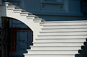 High Resolution view of the newly renovated steps on the east side of the South Portico of the White House in Washington, DC on Tuesday, August 22, 2017. <br /> Credit: Ron Sachs / CNP