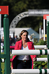 Stamford, Lincolnshire, United Kingdom, 8th September 2019, Piggy French walks the Show Jumping course the 2019 Land Rover Burghley Horse Trials, Credit: Jonathan Clarke/JPC Images