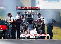 Jun 7, 2019; Topeka, KS, USA; Crew members for NHRA top fuel driver Billy Torrence during qualifying for the Heartland Nationals at Heartland Motorsports Park. Mandatory Credit: Mark J. Rebilas-USA TODAY Sports