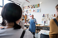 Fall Break trip to New York City: graphic design and fine art students from the Department of Art. Visiting the studio of textile artist Annie Coggan - Brooklyn.<br />  (photo by Megan Bean / &copy; Mississippi State University)