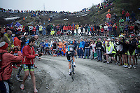 Siutsou Kanstantsin (BLR/SKY) up the final switchbacks on the dirt roads of the Colle delle Finestre (2178m)<br /> <br /> Giro d'Italia 2015<br /> stage 20: Saint Vincent - Sestriere (199km)