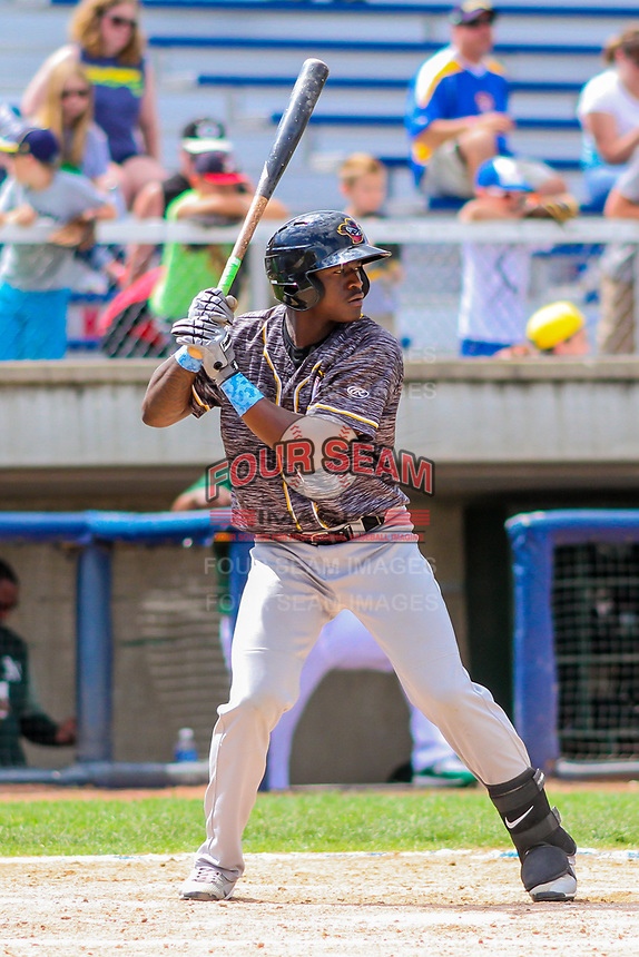 Quad Cities River Bandits outfielder Daz Cameron (16) at the plate during a Midwest League game against the Beloit Snappers on June 18, 2017 at Pohlman Field in Beloit, Wisconsin.  Quad Cities defeated Beloit 5-3. (Brad Krause/Four Seam Images)