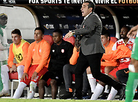 BOGOTA - COLOMBIA, 17-01-2019: Guillermo Sanguinetti técnico de Independiente Santa Fe gesticula durante partido con Atletico Nacional por la final del Torneo Fox Sports 2019 jugado en el estadio Nemesio Camacho El Campin de la ciudad de Bogotá. / Guillermo Sanguinetti coach of Independiente Santa Fe gestures during match against Atletico Nacional for the Fox Sports Tournament 2019 played at Nemesio Camacho El Campin Stadium in Bogota city. Photo: VizzorImage / Gabriel Aponte / Staff.