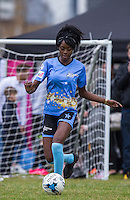 Naomi Hedman (Ex On the Beach) during the SOCCER SIX Celebrity Football Event at the Queen Elizabeth Olympic Park, London, England on 26 March 2016. Photo by Andy Rowland.