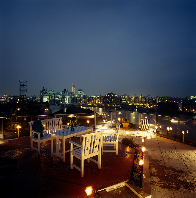 This roof terrace has dramatic views of the London skyline towards Tower Bridge