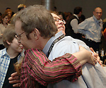MELVILLE,NY-MONDAY APRIL 16, 2007: Newsday Cartoonist, Walter Handelsman with his wife Jodie, celebrating at an acknowlegement ceremony for his winning of the Pulitzer for a Portfolio of Editorial Cartoons, in the Auditorium of Newsday offices in Melville on Monday April 16, 2007. Photo by/Jim Peppler.