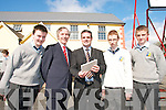 TOP OF THE CLASS: Students from St. Patrick's College in Castleisland welcome John Lonergan, Governor of Mountjoy Prison, to the school on Thursday last..L/r/ Emmet McCarthy (Castleisland) John Lonergan, Denis O'Donovan (Deputy Principle of St. Patrick's College), Michael Conway (Castleisland) and Sean Brosnan (Cordal).   Copyright Kerry's Eye 2008