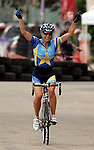 June 20, 2010:  Tread's, Megan Hottman, celebrates her victory in the 2010 Women's Pro Criterium, Niwot, Colorado.