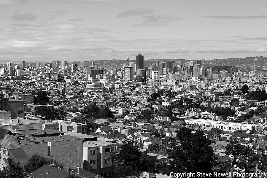 """The City"" Downtown San Francisco, California with the new Bay Bridge on the right side.  Black and White is still my favorite type of photography."