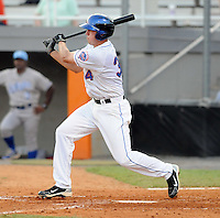 Infielder Luke Stewart (34) of the Kingsport Mets, Appalachian League affiliate of the New York Mets, in a game against the Burlington Royals on August 20, 2011, at Hunter Wright Stadium in Kingsport, Tennessee. Kingsport defeated Burlington, 17-14. (Tom Priddy/Four Seam Images)