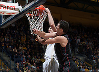 David Kravish of California dunks the ball during the game against Stanford at Haas Pavilion in Berkeley, California on February 5th, 2014.  Stanford defeated California, 80-69.