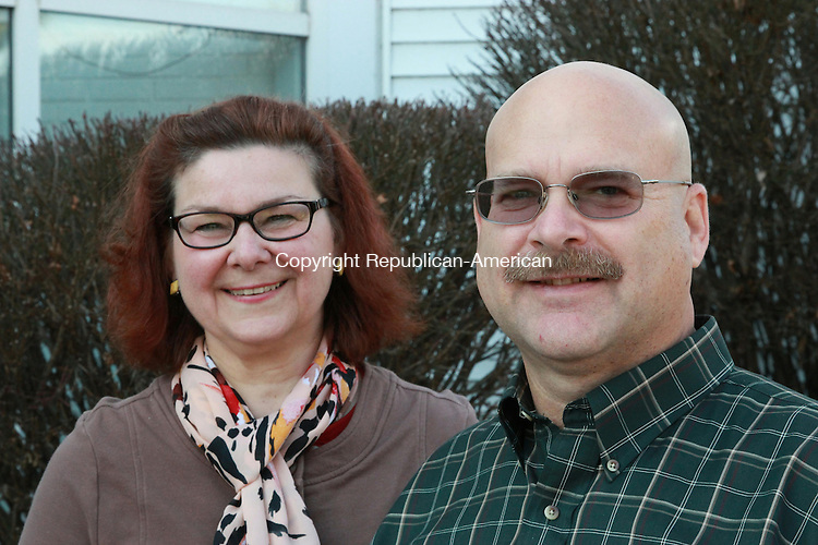 SOUTHBURY, CT: 25 Nov. 2015: 25112015CB04: SOUTHBURY -- First Selectman-Elect Jeffrey Manville, right, chose longtime friend, Cindy Harrison, to be his assistant at Town Hall. He will be sworn into office on Dec. 7. Caleb Bedillion Republican-American