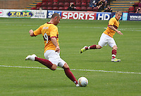 Michael Higdon plays the ball forward in the Motherwell v Everton friendly match at Fir Park, Motherwell on 21.7.12 for Steven Hammell's Testimonial.