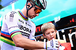 World Champion Peter Sagan (SVK) Bora-Hansgrohe at sign on in Mondorf-les-Bains before the start of Stage 4 of the 104th edition of the Tour de France 2017, running 207.5km from Mondorf-les-Bains, Luxembourg to Vittel, France. 4th July 2017.<br /> Picture: ASO/Alex Broadway | Cyclefile<br /> <br /> <br /> All photos usage must carry mandatory copyright credit (&copy; Cyclefile | ASO/Alex Broadway)