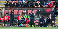 Leyton Orients U16s Manager Frederico Morias (centre) takes over in the dugout after Leyton Orient Omer Riza takes charge as Manager for the first time (Orient's 5th of the Season) is sent off at half time during the Sky Bet League 2 match between Leyton Orient and Wycombe Wanderers at the Matchroom Stadium, London, England on 1 April 2017. Photo by Andy Rowland.