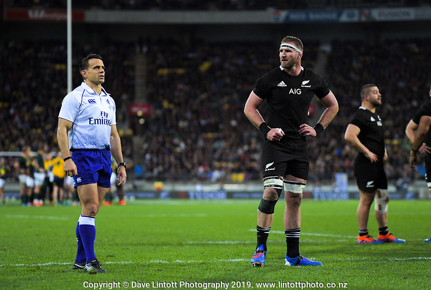 Referee Nic Berry and NZ captain Kieran Read during the Rugby Championship rugby union match between the New Zealand All Blacks and South Africa Springboks at Westpac Stadium in Wellington, New Zealand on Saturday, 27 July 2019. Photo: Dave Lintott / lintottphoto.co.nz