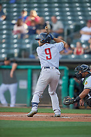 Alex De Goti (9) of the Round Rock Express bats against the Salt Lake Bees at Smith's Ballpark on June 10, 2019 in Salt Lake City, Utah. The Bees defeated the Express 9-7. (Stephen Smith/Four Seam Images)