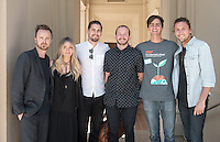 From left, actor Aaron Paul, wife Lauren Paul, Kenny Laubbacher, Tedx speaker Jedidiah Jenkins, Sam Ravetz '16 and Tyler Lain pose outside Choi Auditorium. The Pauls, Laubbacher and Lain came to see Jenkins' talk.<br /> Occidental College's second TEDx event, Choi Auditorium, April 2, 2016. Featuring talks on sustainability and global development by speakers that included five students, a faculty member and seven external speakers.<br /> (Photo by Marc Campos, Occidental College Photographer)