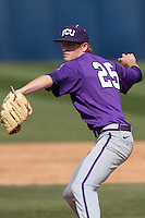 Nick Frey #25 of the TCU Horned Frogs pitches against the Cal State Fullerton Titans at Goodwin Field on February 26, 2012 in Fullerton,California. Fullerton defeated TCU 11-10.(Larry Goren/Four Seam Images)