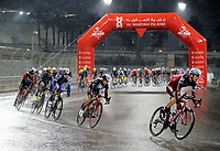 PICTURE BY MARK GREEN/SWPIX.COM ATP  Tour of Abu Dhabi - Yas Island Stage, UAE, 26/02/17<br /> Riders cornering fast while the rain continues at the Yas Marina stage