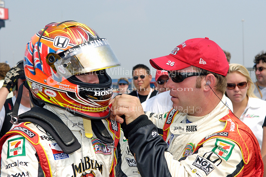 11 September, 2005, Joliet,IL,USA<br /> Dan Wheldon gets strapped up for racing.<br /> Copyright&copy;F.Peirce Williams 2005