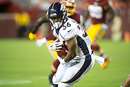 Landover, MD - August 24, 2018: Denver Broncos running back David Williams (36) runs the football during preseason game between the Denver Broncos and Washington Redskins at FedEx Field in Landover, MD. The Broncos defeat the Redskins 29-17. (Photo by Phillip Peters/Media Images International)