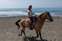 Horsewoman has a leisurely Sunday morning canter along the shore between Puerto Banus and San Pedro de Alcantara. April, 2017, 201704233487<br /> <br /> Copyright Image from Victor Patterson, 54 Dorchester Park, <br /> Belfast, UK, BT9 6RJ<br /> <br /> t1: +44 28 9066 1296 (from Rep of Ireland 048 9066 1296)<br /> t2: +44 28 9002 2446 (from Rep of Ireland 048 9002 2446)<br /> m: +44 7802 353836<br /> <br /> e1: victorpatterson@me.com<br /> e2: victorpatterson@gmail.com<br /> <br /> www.victorpatterson.com<br /> <br /> Please see my Terms and Conditions of Use at www.victorpatterson.com. It is IMPORTANT that you familiarise yourself with them.<br /> <br /> Images used on the Internet must be visibly watermarked i.e. © Victor Patterson within the body of the image and copyright metadata must not be deleted. Images used on the Internet have a size restriction of 4kbs and will be chargeable at current NUJ rates unless agreed otherwise.<br /> <br /> This image is only available for the use of the download recipient i.e. television station, newspaper, magazine, book publisher, etc, and must not be passed on to any third party. It is also downloaded on condition that each and every usage is notified within 7 days to victorpatterson@me.com<br /> <br /> The right of Victor Patterson to be identified as the author is asserted in accordance with The Copyright Designs And Patents Act (1988).